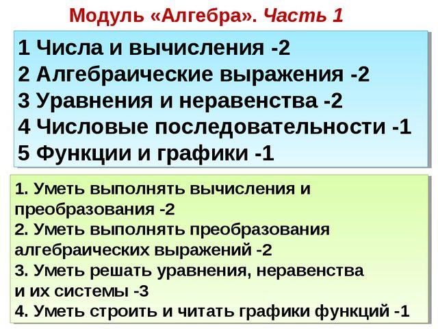 Модуль «Алгебра». Часть 1 1 Числа и вычисления -2 2 Алгебраические выражения...