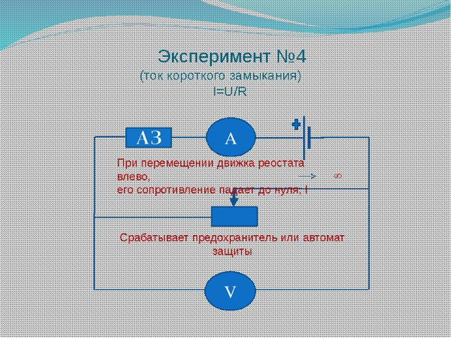 Эксперимент №4 (ток короткого замыкания) I=U/R А V При перемещении движка рео...