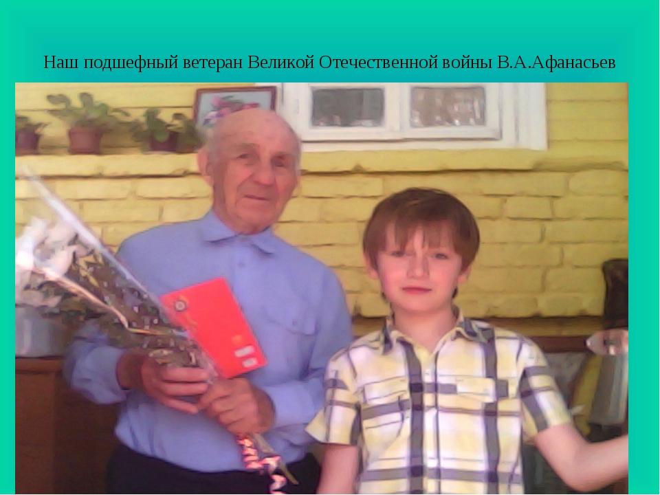 Наш подшефный ветеран Великой Отечественной войны В.А.Афанасьев