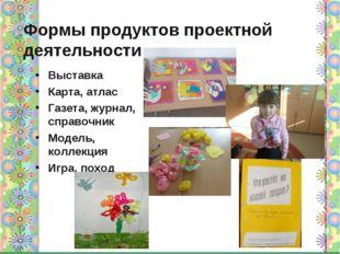 Формы продуктов проектной деятельности Выставка Карта, атлас Газета, журнал,