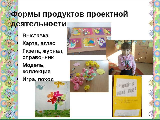Формы продуктов проектной деятельности Выставка Карта, атлас Газета, журнал,...