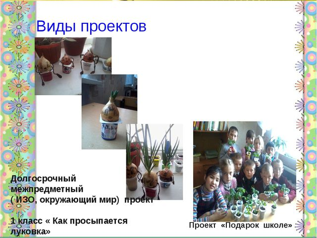 Виды проектов Долгосрочный межпредметный ( ИЗО, окружающий мир) проект 1 кла...