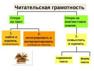 Читательская грамотность Опора на текст Опора на внетекстовое знание 3. осмыс