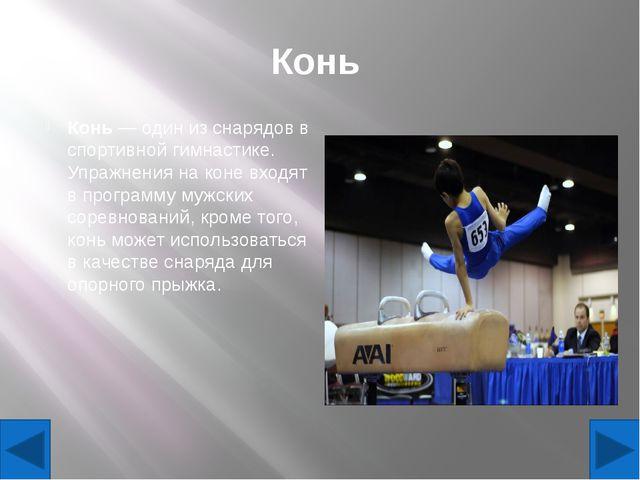 Конь Конь— один из снарядов в спортивной гимнастике. Упражнения на коне вход...