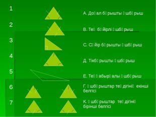 1 А. Доғал бұрышты үшбұрыш 2 В. Тең бүйірлі үшбұрыш 3 С. Сүйір бұрышты үшбұр
