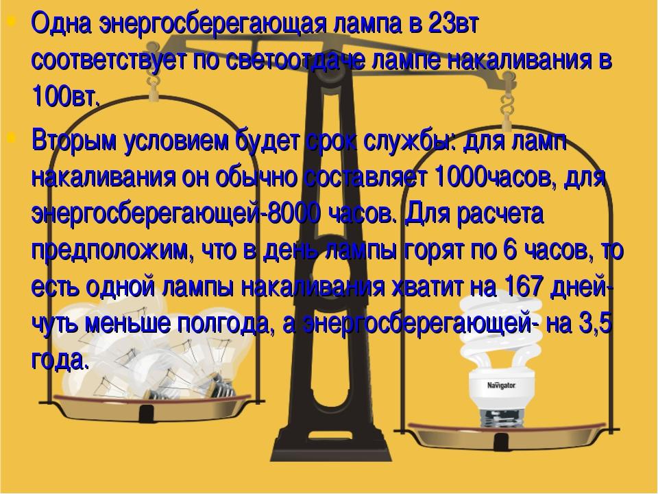 Одна энергосберегающая лампа в 23вт соответствует по светоотдаче лампе накали...