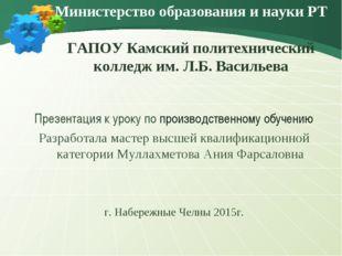 Министерство образования и науки РТ ГАПОУ Камский политехнический колледж им.
