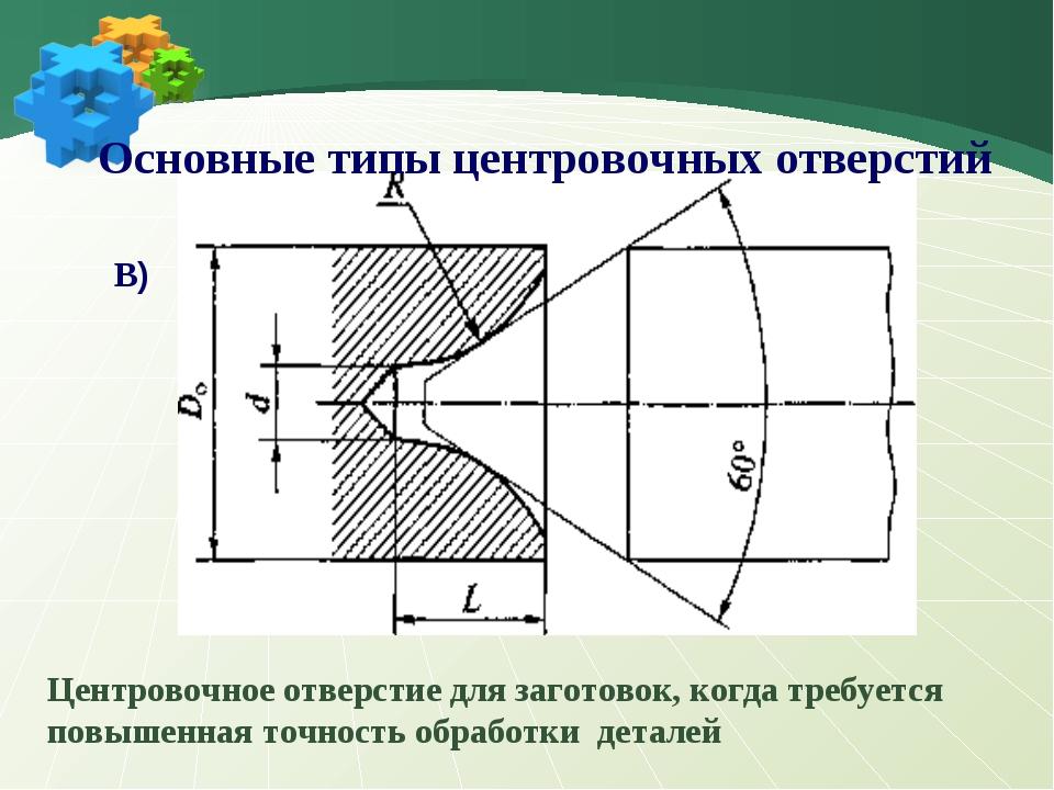 В) Центровочное отверстие для заготовок, когда требуется повышенная точность...