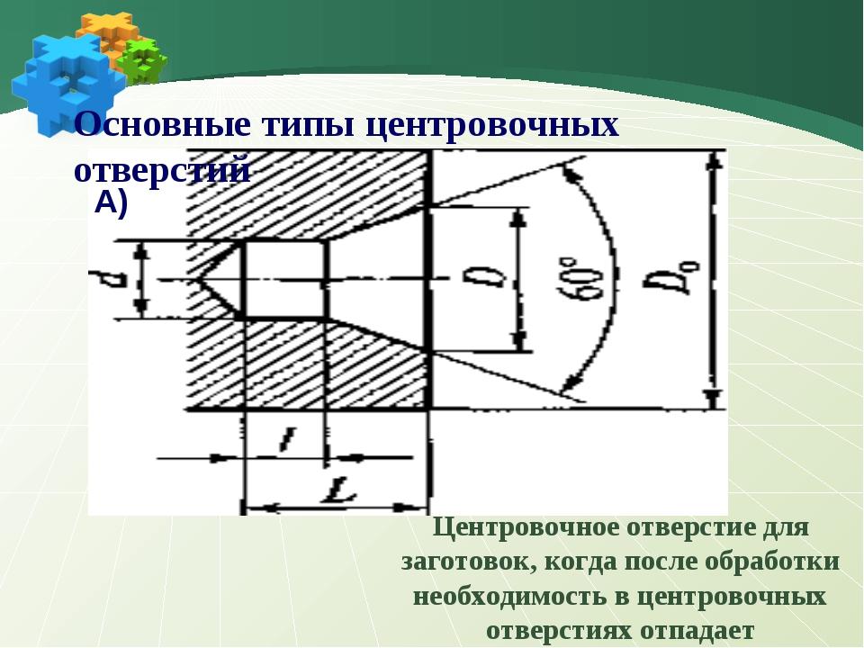 Основные типы центровочных отверстий А) Центровочное отверстие для заготовок...