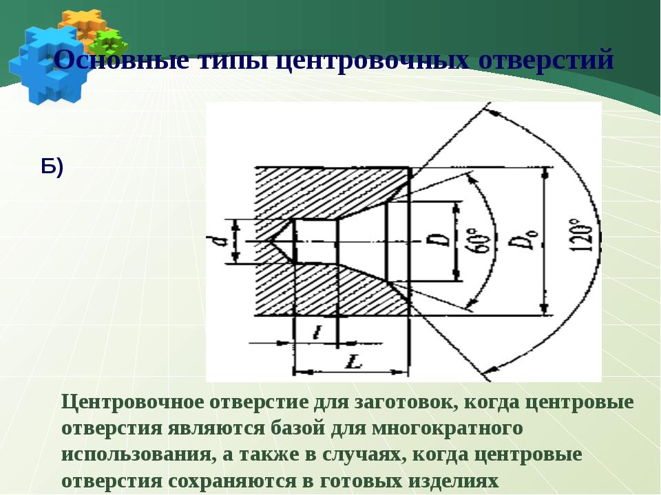 Б Б Б) Центровочное отверстие для заготовок, когда центровые отверстия являют...