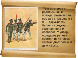 Репеек кивера у рядовых, как и прежде, указывал на номер батальона: в 1-м —