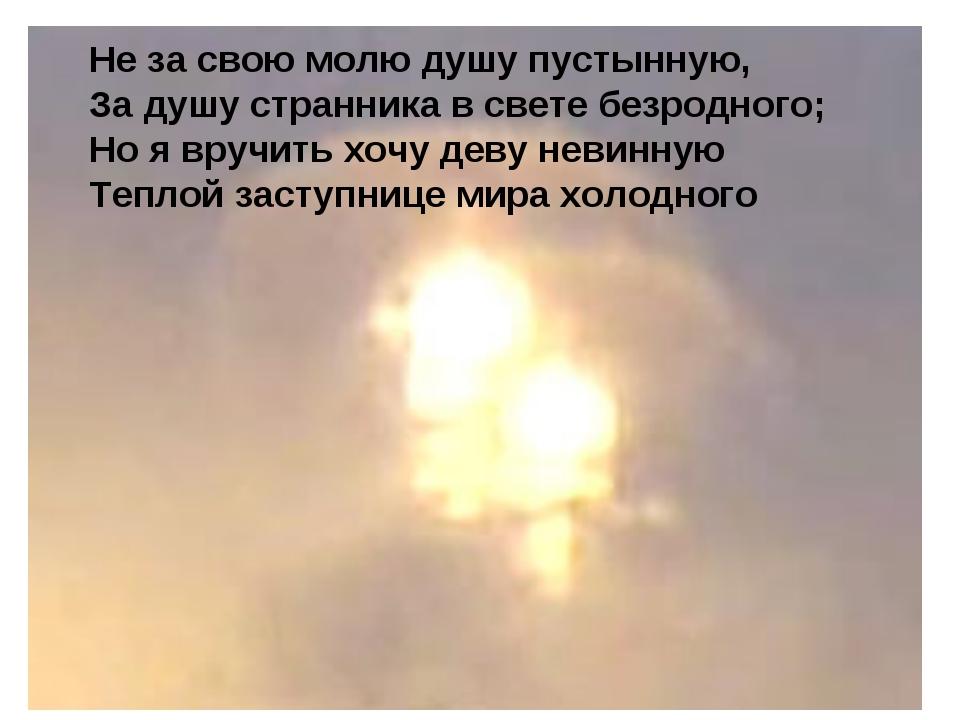 Не за свою молю душу пустынную, За душу странника в свете безродного; Но я вр...
