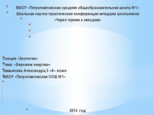МАОУ «Петропавловская средняя общеобразовательная школа №1» Школьная научно-