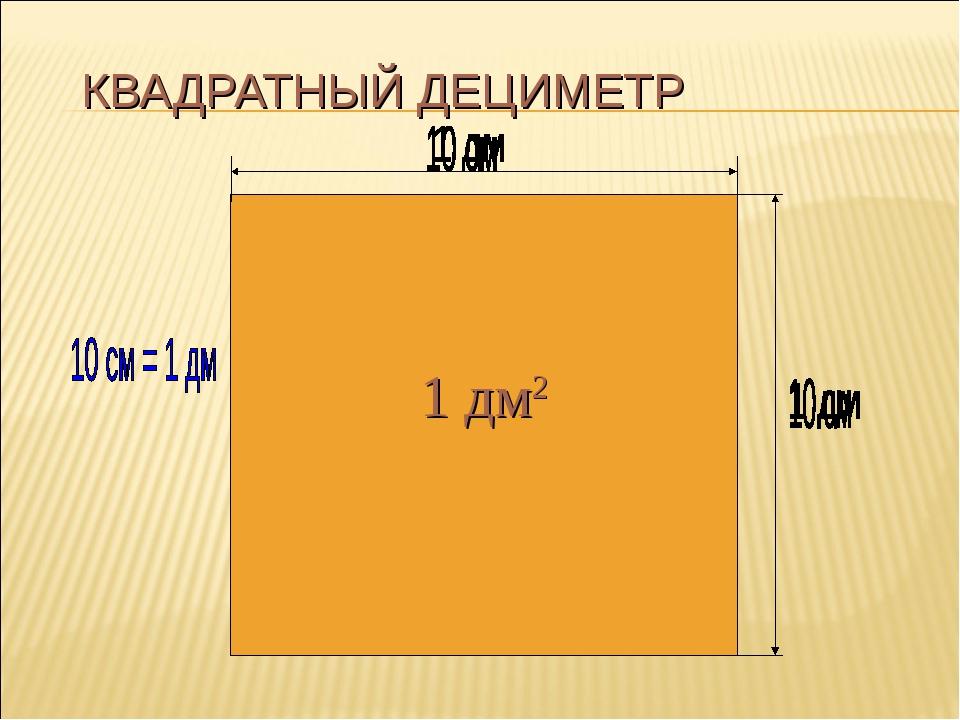 КВАДРАТНЫЙ ДЕЦИМЕТР 10 . 10 = 100 (см 2) 1 дм2...
