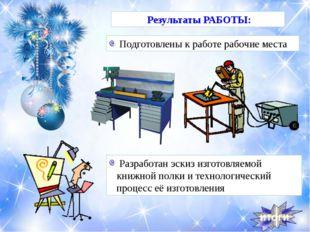 Результаты РАБОТЫ: Подготовлены к работе рабочие места Разработан эскиз изгот