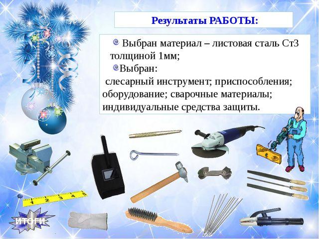 Выбран материал – листовая сталь Ст3 толщиной 1мм; Выбран: слесарный инструм...