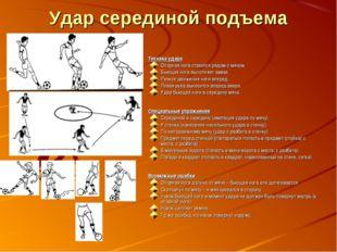 Удар серединой подъема Техника удара Опорная нога ставится рядом с мячом. Бью