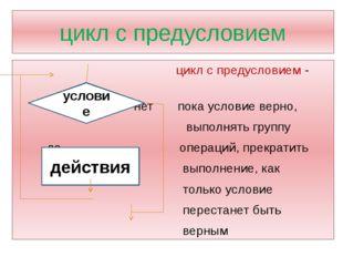 цикл с предусловием цикл с предусловием - нет пока условие верно, выполнять г