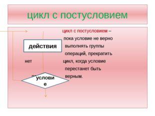 цикл с постусловием цикл с постусловием – пока условие не верно выполнять гру