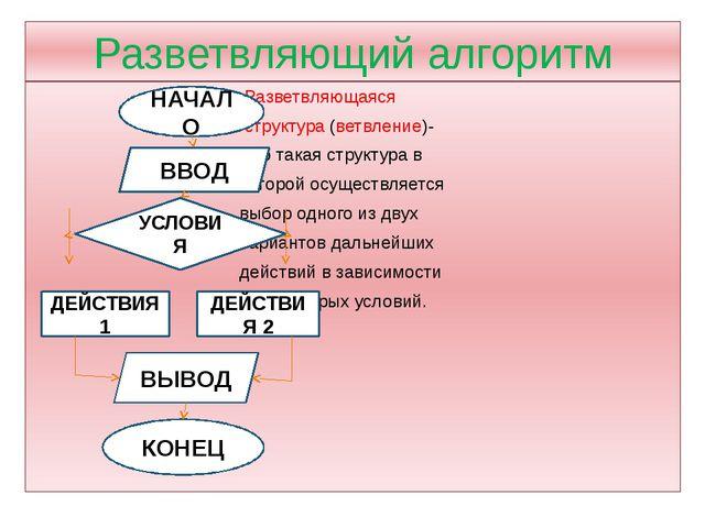 Разветвляющий алгоритм Разветвляющаяся структура (ветвление)- это такая струк...