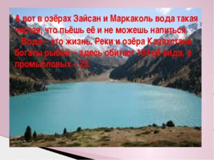 А вот в озёрах Зайсан и Маркаколь вода такая чистая, что пьёшь её и не можешь