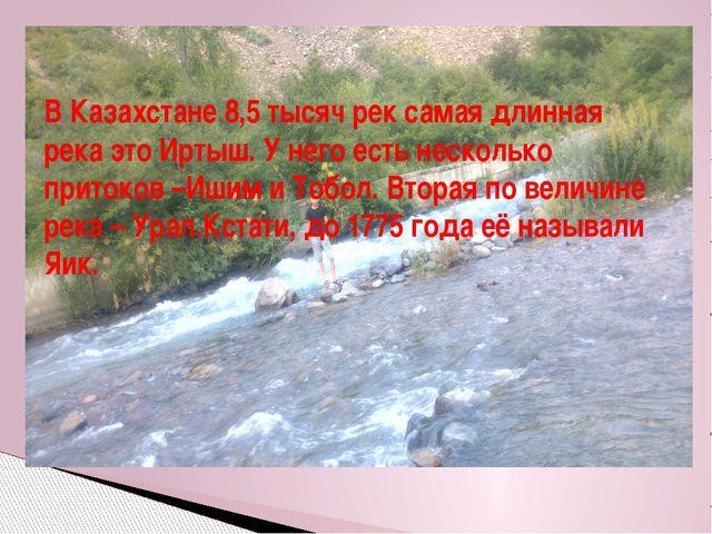 В Казахстане 8,5 тысяч рек самая длинная река это Иртыш. У него есть нескольк...