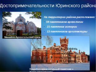Достопримечательности Юринского района На территории района расположено: 59 п