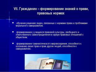 VII. Гражданин – формирование знаний о праве, правовых нормах обучение решен