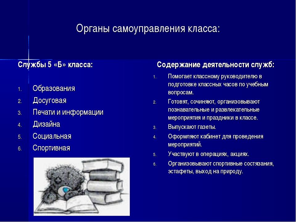 Органы самоуправления класса: Службы 5 «Б» класса: Образования Досуговая Печа...