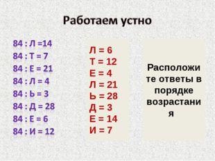 Л = 6 Т = 12 Е = 4 Л = 21 Ь = 28 Д = 3 Е = 14 И = 7 Расположите ответы в поря