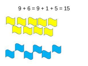9 + 6 = 9 + 1 + 5 = 15