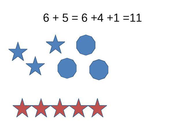 6 + 5 = 6 +4 +1 =11