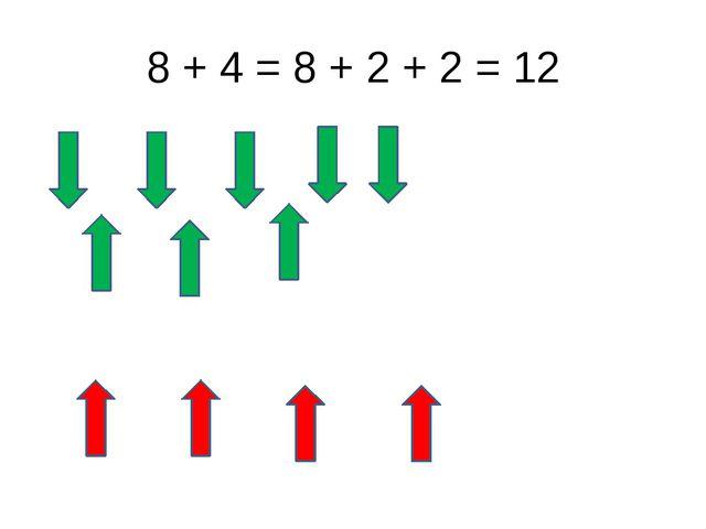 8 + 4 = 8 + 2 + 2 = 12
