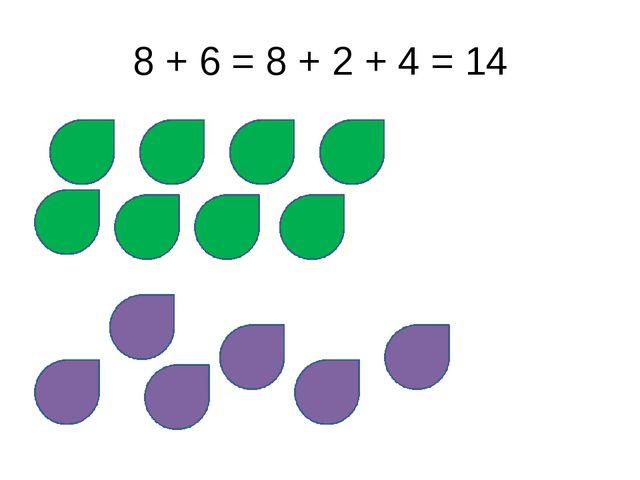 8 + 6 = 8 + 2 + 4 = 14