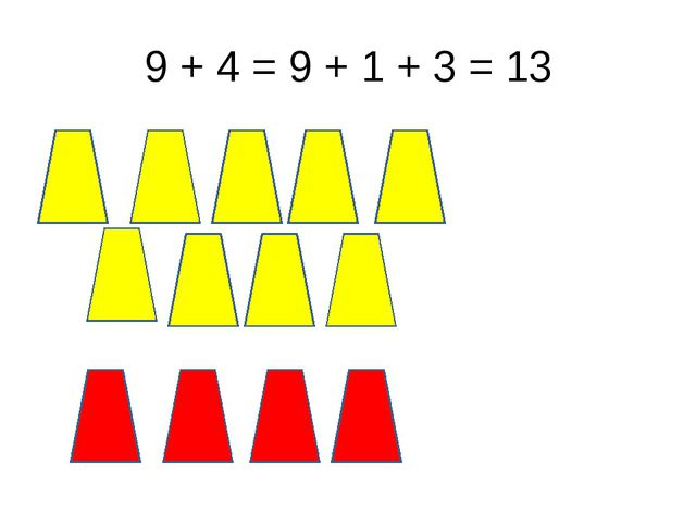 9 + 4 = 9 + 1 + 3 = 13