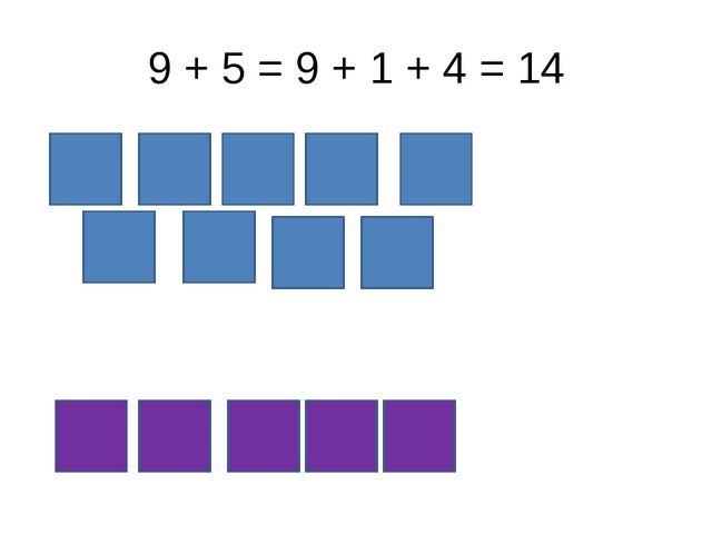 9 + 5 = 9 + 1 + 4 = 14