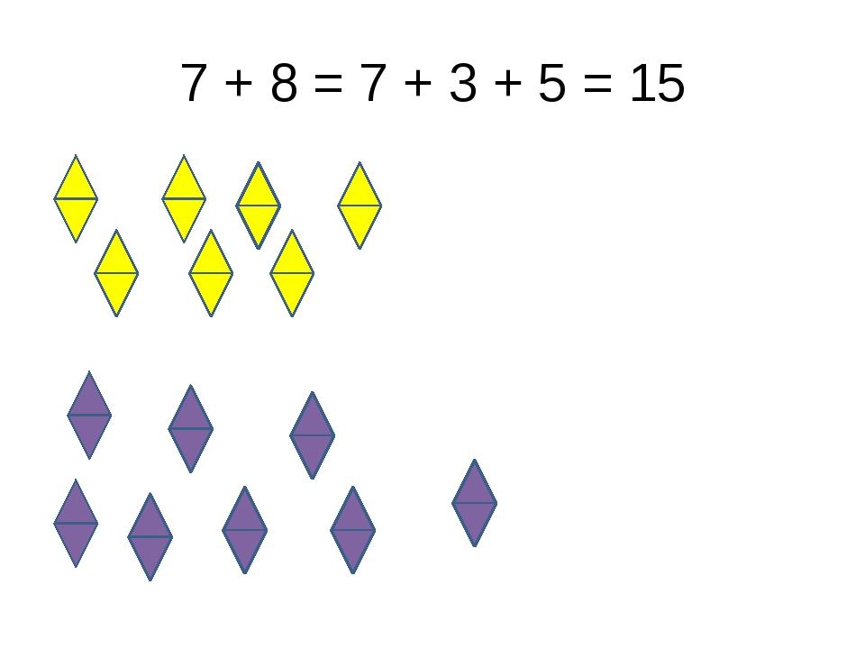 7 + 8 = 7 + 3 + 5 = 15