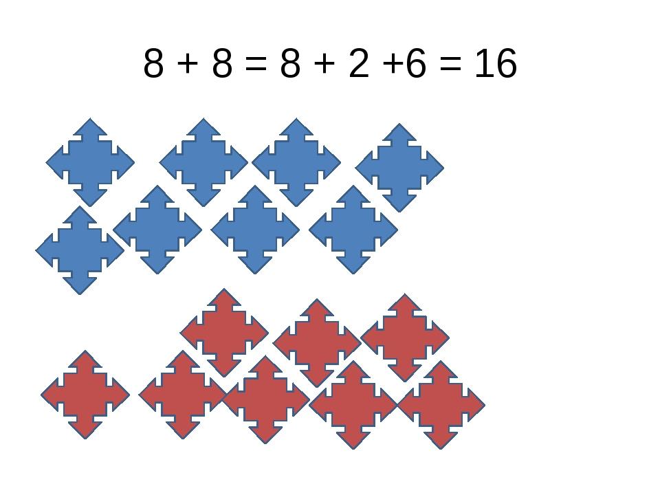 8 + 8 = 8 + 2 +6 = 16