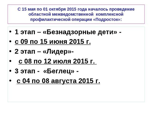 С 15 мая по 01 октября 2015 года началось проведение областной межведомственн...