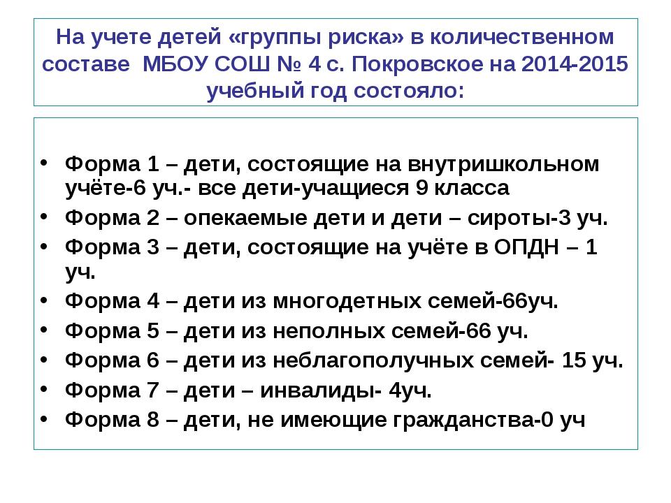 На учете детей «группы риска» в количественном составе МБОУ СОШ № 4 с. Покров...