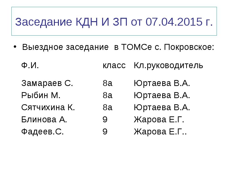 Заседание КДН И ЗП от 07.04.2015 г. Выездное заседание в ТОМСе с. Покровское: