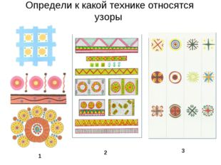 Определи к какой технике относятся узоры 1 2 3