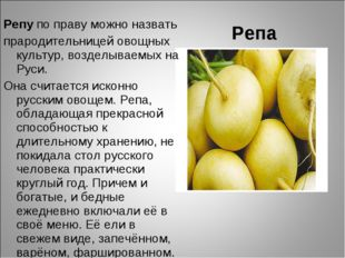 Репа Репу по праву можно назвать прародительницей овощных культур, возделывае