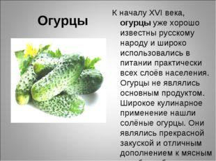 Огурцы К началу XVI века, огурцы уже хорошо известны русскому народу и широко