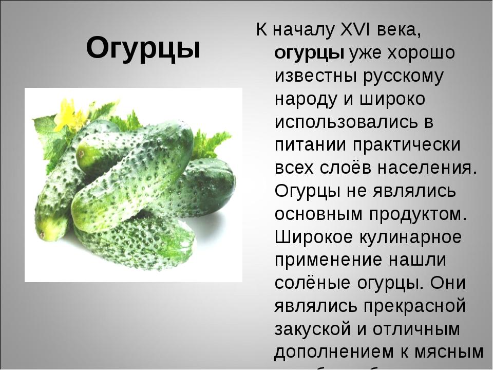 Огурцы К началу XVI века, огурцы уже хорошо известны русскому народу и широко...