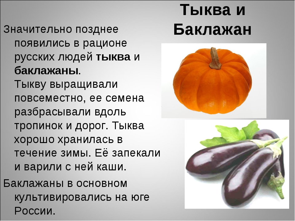 Тыква и Баклажан Значительно позднее появились в рационе русских людей тыква...
