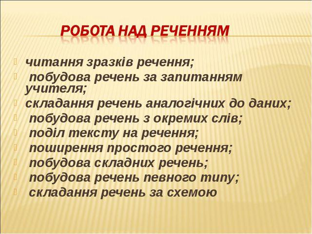 читання зразків речення; побудова речень за запитанням учителя; складання реч...