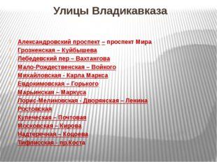 Улицы Владикавказа Александровский проспект – проспект Мира Грозненская – Куй
