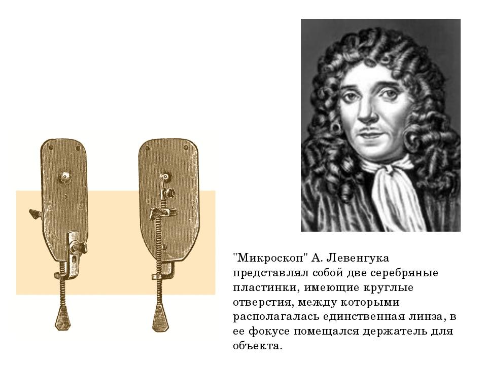 """""""Микроскоп"""" А. Левенгука представлял собой две серебряные пластинки, имеющие..."""