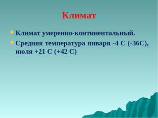Климат Климат умеренно-континентальный. Средняя температура января -4 С (-36С